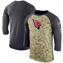 Men's Arizona Cardinals Camo/Anthracite Salute to Service Sideline Legend Performance Three-Quarter Sleeve T-Shirt