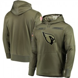 Men's Arizona Cardinals Olive 2018 Salute to Service Sideline Therma Performance Pullover Hoodie