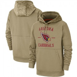 Men's Arizona Cardinals Tan 2019 Salute to Service Sideline Therma Pullover Hoodie