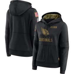 Women's Arizona Cardinals Black 2020 Salute to Service Performance Pullover Hoodie