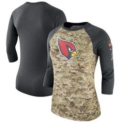 Women's Arizona Cardinals Camo/Charcoal Salute to Service Legend Three-Quarter Raglan Sleeve T-Shirt