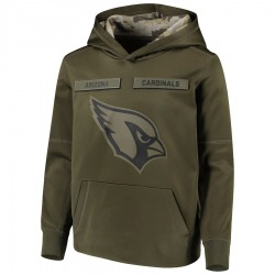 Youth Arizona Cardinals Green 2018 Salute to Service Pullover Performance Hoodie