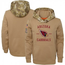 Youth Arizona Cardinals Khaki 2019 Salute to Service Therma Pullover Hoodie